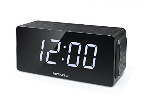 Muse M-190 CR digitales Stereo Uhrenradio mit großem Display, dimmbar (UKW, MW, Senderspeicher, Dual-Alarm, 4 Watt Musikleistung), schwarz