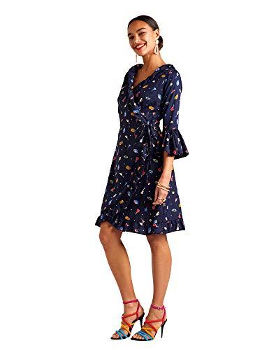 YUMI Navy Tapas Spot Knee Length Wrap Dress