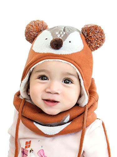 RUXIYI 2 Stück Baby Hut Kinder Herbst und Winter Strickmütze Schal Hut-Set Jungen und Mädchen Hut QXMZ-OG-M