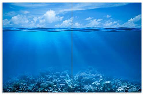Wallario Herdabdeckplatte/Spritzschutz aus Glas, 2-teilig, 80x52cm, für Ceran- und Induktionsherde, Motiv Unterwasserwelt Meer