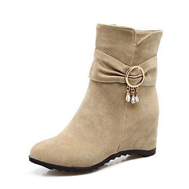 Sanmulyh Zapatos Mujer Otoño Invierno Comfort Novedad Bootie Cuña Zapatos De Tacón Punta Punta Redonda Botines / Botines Para Rebordear El Beige