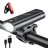 Wasafire Fietslichten Set,3000 Lumen USB Oplaadbare Fietslichten,5 Modi 5200mAh Waterdichte LED Koplamp Mountainbike Light,Veiligheid & Gemakkelijk Mount Fietsen Voorlicht en Achterlicht (rood achterlicht)