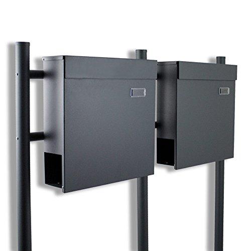 BITUXX® Doppelstandbriefkasten Briefkasten Postkasten Mailbox Letterbox Briefkastenanlage mit integrierten Zeitungsfach Dunkelgrau