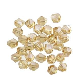 ILOVEDIY 100Pcs Bicone Perlas de Cristal para bisutería, 4x 3mm