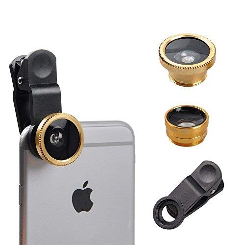 I-Sonite (Gold Handy-Universal-Kameraobjektiv 3 in 1 Kit Weitwinkel + Fisheye + Makroobjektiv für Verizon Ellipsis 8 Zoom Verizon Wireless