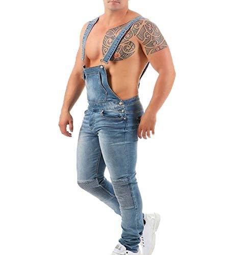 Hombres Ripped Hole Denim Mono Lavado Distressed Jeans Overol Peto