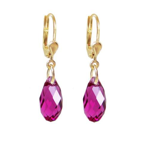Schöner-SD, hochwertig vergoldete Ohrringe mit kleinen Kristallen von Swarovski® 13mm Farbe Fuchsia dunkles-pink