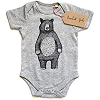 Mr Bear Babygrow/babyvest/bodysuit - screen printed design, grey cotton, short sleeved, unisex - the perfect baby gift! 3-6 months