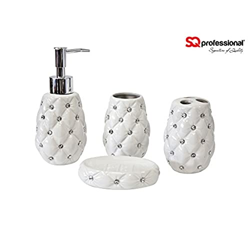 4pc Bathroom Accessory Set   Soap Dish Dispenser Tumbler Toothbrush Holder  (Diamond White)