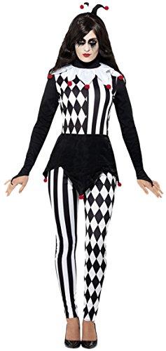 auen Female Jester Hofnarr Komplett Kostüm Karneval , Schwarz, Größe S/M (Jester-kostüm Für Frauen)