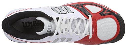 Wilson RUSH EVO, Chaussures de Tennis homme Multicolore - Mehrfarbig (WHITE/WILSON RED WILSON/BLACK)