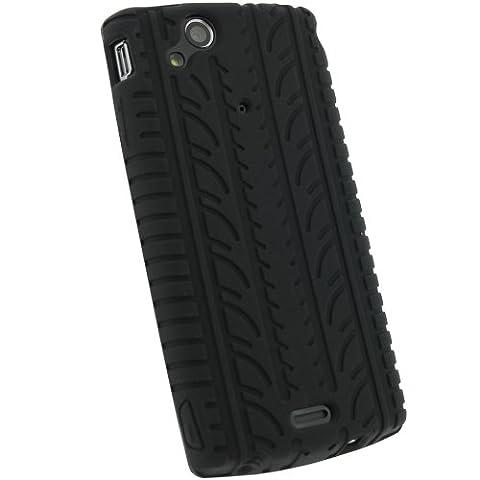 igadgitz Schwarz Silikon Skin Tasche Hülle mit Reifen Profil für Sony Ericsson Xperia Arc S Android Smartphone Handy + Display Schutzfolie