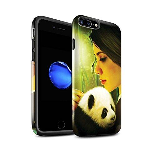 Officiel Elena Dudina Coque / Brillant Robuste Antichoc Etui pour Apple iPhone 7 Plus / Cleopatra/Serpent Doré Design / Les Animaux Collection Petit Panda/Bambou