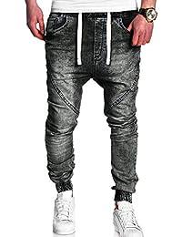 Moda Uomo Casual Vintage Elastic Wash Denim Slim Afflitto Pantaloni Jeans-  Uomo Sottile Biker Jeans Zip Denim efb4d07edd1b
