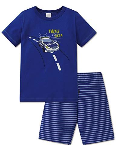 Schiesser Jungen Polizei Kn Anzug kurz Zweiteiliger Schlafanzug, Blau (Blau 800), (Herstellergröße: 128)