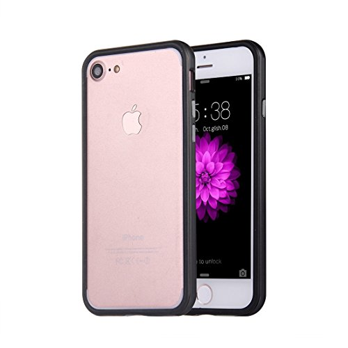 iPhone Case Cover Pour iPhone 7 Silicone + Metal Aluminum Bumper Frame ( Color : Gold ) Black