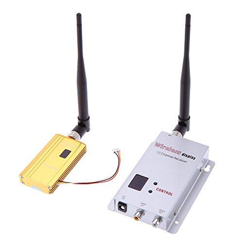 Andoer 1500 mW 1.2G Wireless-8CH Sender 12CH Empfänger Digitalkamera VCD / DVD-Spieler AV Audio & Video Übertragungssystem für Displayer-Monitor FPV OSD Video-audio Sender