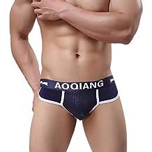 Calzoncillos para hombres Sexy Algodón Suave Impresión Respirable Transparente Estuche abultado talle bajo Calzoncillos boxer de