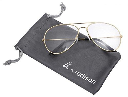 WODISON Vintage-Flieger-Sonnenbrille Reflektierende Spiegel-Objektiv (Gold Frame Clear Objektiv)