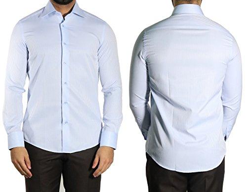MUGA Homme Chemise à manches longues, cintrée Bleu clair