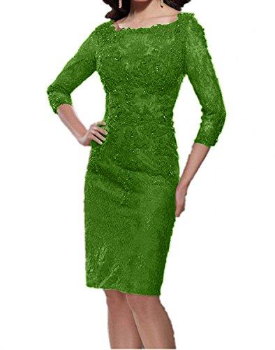 Charmant Damen Dunkel Rot Elegant Knielang Spitze Abendkleider Brautmutterkleider Partykleider mit Langarm Grün