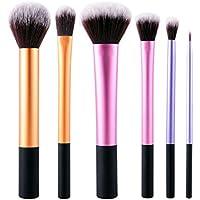 Conjunto De 6 Bases De Maquillaje En Polvo Delineador De Ojos Contorno Pulido De Pincel Corrector