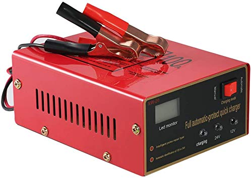 HJJH Automotive Battery Charger, 12V / 24V Smart Battery Battery Maintainer, sulla Riparazione Impulso alla Batteria Intelligente di Auto, Camion, Moto, Veicoli Agrico