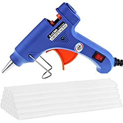 Zacro Pistola de Silicona con 30psc Melt Glue Sticks De Alta Temperatura de Fusión de Pegamento Kit de Pistola de Pegamento para Artesanía de Bricolaje Pequeñas y Reparaciones Rápidas en el Hogar y la Oficina (20 vatios, azul)