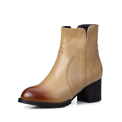 AgooLar Damen Blend-Materialien Rein Reißverschluss Rund Zehe Hoher Absatz Stiefel, Aprikosen Farbe, 37