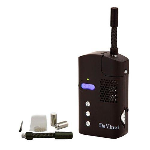 Black Da Vinci V2 Portable Vaporizer with Grinder & Baggie