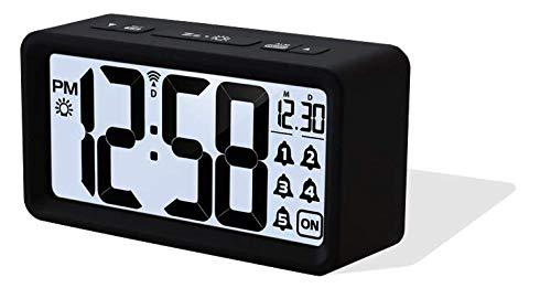 Funkwecker WT 496, moderner Wecker mit 5 Weck-Alarme inklusive Schlummerfunktion, Datum und Wochentagsanzeige, Nachtlicht, Hintergrundbeleuchtung