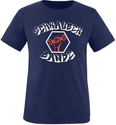 EZYshirt® Schrauber Bande Herren Rundhals T-Shirt Navy/Weiss/Orange