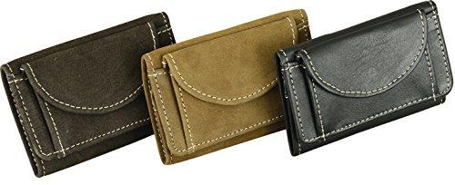 9 Schwarz Leder (Hochwertige Leder geldbörse aus echtem Leder Wild Querformat Portemonnaie Geldbeutel in 4 Farben (Schwarz))