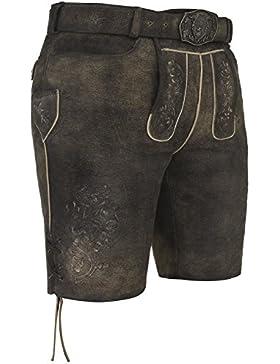 Michaelax-Fashion-Trade Spieth & Wensky - Herren Trachten Lederhose mit Gürtel, Diplomat (260145-0964)