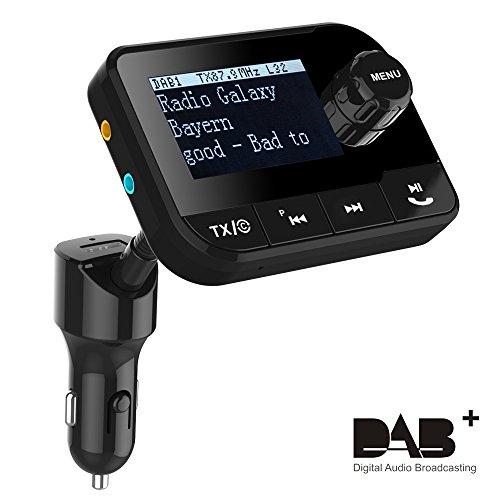 Blufree Car DAB+ Digital Radio Adapter FM Transmitter, Tragbar DAB Autoradio Bluetooth Freisprecheinrichtung MP3-Receiver mit 2,3 Zoll LCD-Display/Kfz-Ladegerät/SD-Karte/AUX/DAB Digital Crystal Sound