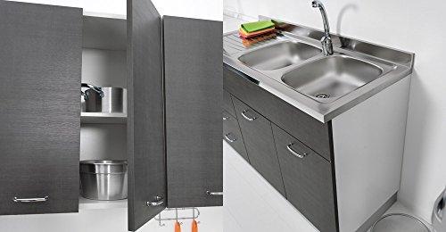 Colavene s32 mobile sottolavello 120 x 50 per cucina con tre ante diverse colorazioni, lavello inox non compreso - tela grigio