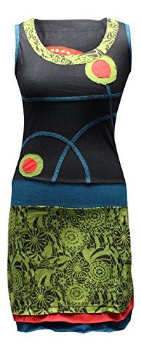 Shopoholic-fashion robe pour femme style hippie spirale avec broderie Vert - Grün Gemischt