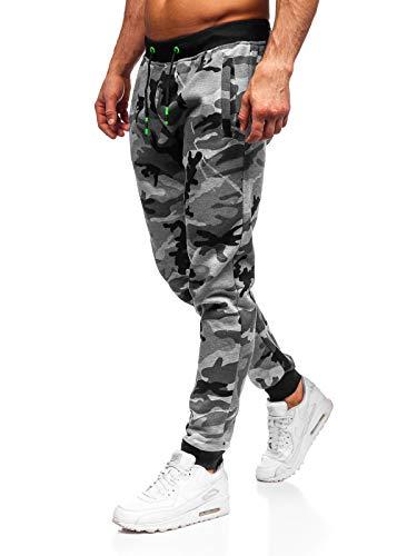 BOLF Herren Sporthose Trainingshose Jogger Military Camo Army Sportlicher Stil J.Style KZ15 Grau XXL [6F6]