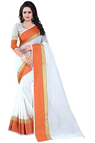 Vrati Fashion Women's Orange Colour Manipuram Cotton Silk Saree With Unstiched Blouse...