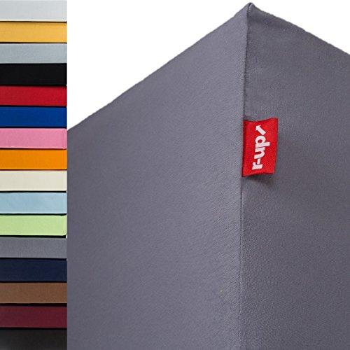 r-up Passt Spannbettlaken 90x200-100x200 bis 35cm Höhe viele Farben 100% Baumwolle 130g/m² Oeko-Tex stressfrei auch für hohe Matratzen (dunkelgrau)