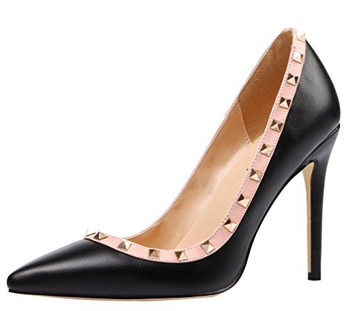 Pu High Heel Pumps (AOOAR Damen Übergröße High Heels mit Nieten Pumps Schwarz PU EU 35)