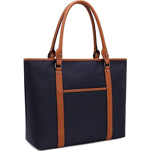Laptop-Tasche, Laptop-Tasche, wasserabweisend, Nylon, Arbeitstasche, Laptoptasche, Schultertasche für Damen, 15,6 Zoll Tablet, Ultra-Book, MacBook Chromebook 17 inches Navy-17-inch