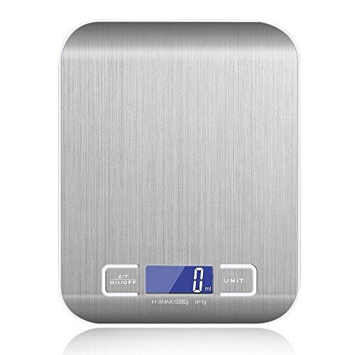 Balance de Cuisine Électronique, 1-10 Kg Balance de Précision Numérique, LCD Rétroéclairé, 2 x AAA Alimenté par batterie de Pingenaneer