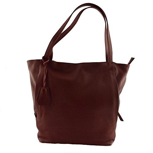 Sac Shopper En Cuir Véritable Couleur Rouge - Maroquinerie Fait En Italie - Sac Femme