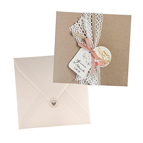 Weddix Vintage Einladungskarten Alexandra für die Hochzeit, Kraftpapier, Spitze, Blüten - Blanko Hochzeitseinladung mit Umschlag Siegeletikett