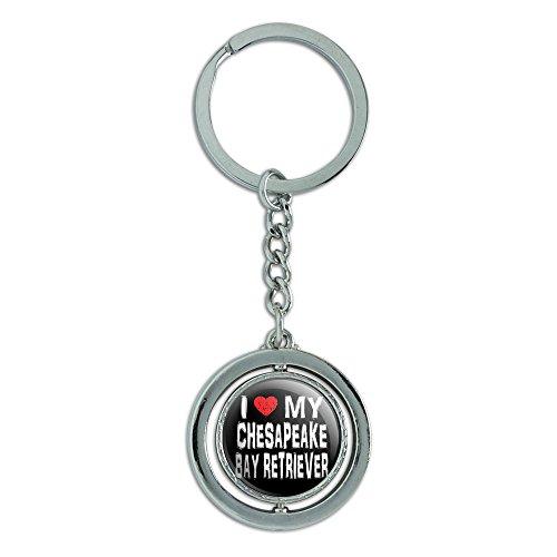 I love my Chesapeake Bay Retriever Stilvolle Spinning runden Metall Schlüsselanhänger Schlüsselanhänger Ring (Chesapeake Bay Retriever Aufkleber)