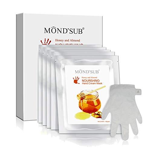 maschera mani guanti 5 paia di Anti-Aging mascherina della mano - Nuritious miele e mandorla Miglior idratante manuali Maschera Nail - Guanti migliori idratanti per le mani asciutte per Nutriente