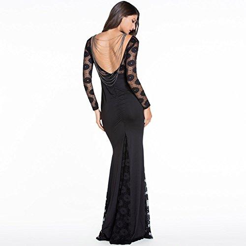 PU&PU Femmes / Cocktail Club Dentelle Sirène Maxi Robe, à manches longues Open Back Black