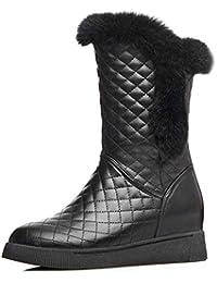 JUWOJIA Señoras Botas De Nieve De Invierno A Mediados De Patinaje Dulce Ternero Cuñas Zapatos De Tacones,Negro,36