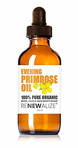 Organic EVENING PRIMROSE OIL by Renewalize in LARGE 100 ml. DARK GLASS BOTTLE with Glass Pipette | Highest Quality , Cold Pressed Unrefined Oil | All Natural Moisturizer for Luxurious Hair , Skin and Nails